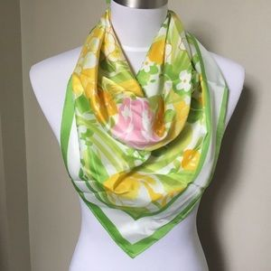 1978 AVON green yellow Floral signed SW Kent scarf
